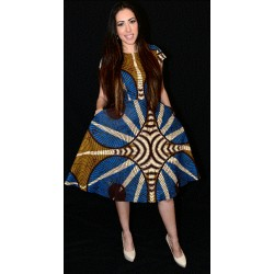Blue and Gold Cap Sleeves Print Flare Dress
