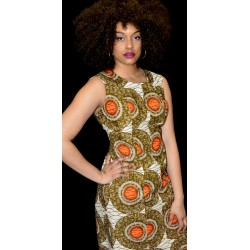 Orange Circular Straight Sleeveless Print Dress