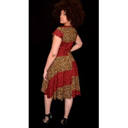 Red and Gold Animal Print Cap Sleeve Flare Dress