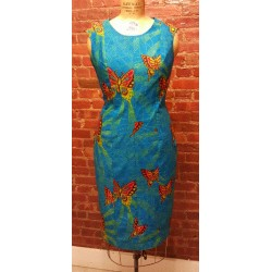 Blue Butterfly Print Straight Sleeveless Dress