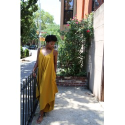 Mustard Cotton Jumpsuit with pockets