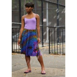 Assorted Color A-Line Tye Dye Skirt with elastic waistband.