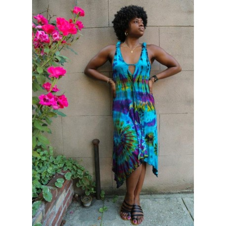 Tye Dye Dress with Triangular front opening and adjustable straps