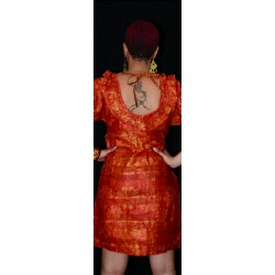 Speckled Batik Mini Dress w. Ruffled Collar - Orange