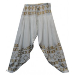 White Gold Metallic Harem Pants