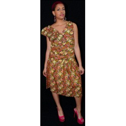 African Print Skirt and Side Ruffled V - Neck Top Set